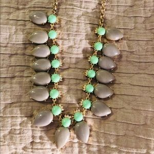 J. Crew gray and mint statement necklace